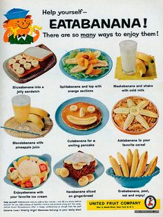 6 ways to eat a banana Retro Recipes, Vintage Recipes, Ethnic Recipes, Easy Recipes, Healthy Recipes, United Fruit Company, Milk Jelly, Best Grilled Cheese, Sweet Home