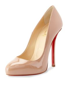X2HYR Christian Louboutin Argotik Patent Red Sole Pump, Nude