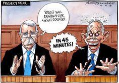 Også satire-tegnerne har beskæftiget sig med Brexit. (Tegning: The Times/Polfoto)