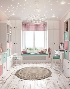 Room for a little princess on Behance Small Girls Bedrooms, Small Room Bedroom, Little Girl Rooms, Kids Bedroom Designs, Cute Bedroom Ideas, Small Room Design, Kids Room Design, Baby Room Decor, Bedroom Decor