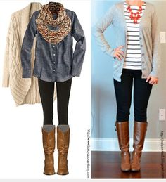 Like the scarf better than the chunky necklace. Like the denim shirt and chunky cardigan