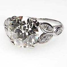 Antique Art Deco 2.5 Carat Old European Cut Diamond Engagement Ring Solid Platinum