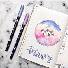 """924 Likes, 6 Comments - The Journal Life (@the.journal.life) on Instagram: """"This is beautiful!! ⛰ @lafondari • • • #bujo #bulletjournals #bulletjournal #bullet #journal…"""""""
