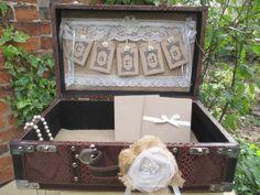 Wedding Card Holder Bunting Design Suitcase Vintage Chest Card Post Box