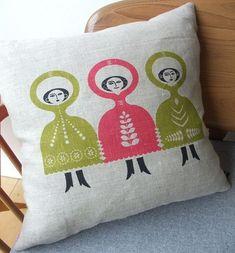 Folkdance cushion on natural linen via Etsy