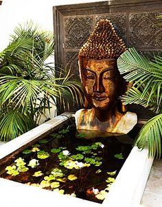 Awesome Buddha Statue for Garden Decorations 4 - Rockindeco Patio Pond, Terrace Garden, Water Garden, Backyard, Meditation Garden, Meditation Space, Meditation Corner, Balinese Garden, Bali Garden
