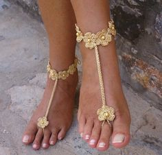 Beach wedding barefoot sandals Handmade by Solacey