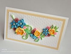 by Kasia Wroblewska Paper Quilling Flowers, Paper Quilling Patterns, Quilling Craft, Quilling Designs, Diy And Crafts, Paper Crafts, Quilled Creations, Fabric Postcards, Quilling Techniques