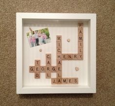 Shadow box family scrabble frame. I live this idea!