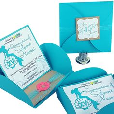 Under The Sea Quinceanera Invitations. Can be customized for Sweet 16, Under The Sea or Beach Wedding, Bat Mitzvah or any occasion.