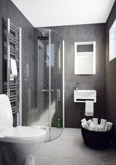 Love the grey Ensuite Bathrooms, Downstairs Bathroom, Bathroom Renos, Shower Bathroom, Beach Bathrooms, Bathroom Towels, Bathroom Ideas, Beautiful Bathrooms, Modern Bathroom