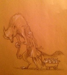 wolf and girl and bunnies