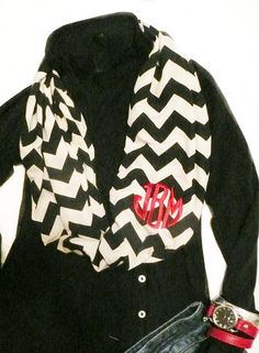 Monogrammed infinity scarf, chevron stripe, black and white.  ***** (5 stars)