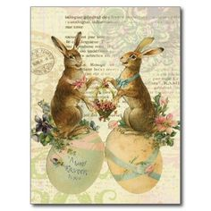 french easter | Vintage French Easter Bunnies postcard