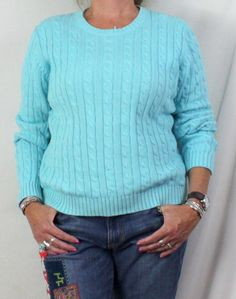 LL Bean Sweater L size Light Blue Cable Womens Cotton All Season Crew