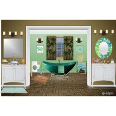 """""""Green Beach House Bath"""" by maw036 on Polyvore#mirror #art #wall #homedecor #denydesigns"""