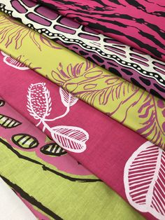 Pinks and greens printed textiles Hand Printed Fabric, Printing On Fabric, Textile Prints, Textiles, Silk Screen Printing, Fabric Wallpaper, Green Print, Pink And Green, Fabrics