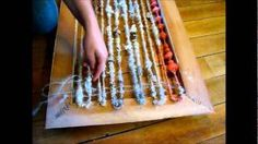 art yarn weaving - using staple gun and old picture frame...