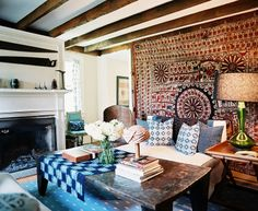 What makes this room special is that lovely bohemian wall.