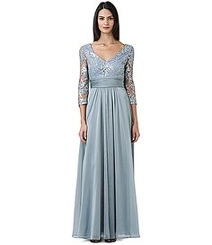 Adrianna Papell Sequined Lace Bodice Gown #Dillards - Like: Bottom half, Sleeves