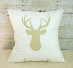 Ready To Ship Woodland Nursery Pillow, Crib Pillow, Decor Throw Pillow, Decorative Deer, Elk, Moose Pillow on Etsy, $35.00