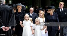 In this handout image provided by ANP, Princess Mabel of the Netherlands (2nd L) walks with her daughters Countess Luana (3rd L) and Countess Zaria of the Netherlands (front 2nd R), Princess Beatrix (front R), <a gi-track='captionPersonalityLinkClicked' href='/galleries/personality/160214' ng-click='$event.stopPropagation()'>King Willem-Alexander</a> of the Netherlands (R), the royal family and others as they arrive for the funeral ceremony of Prince Friso of the Netherlands at the…
