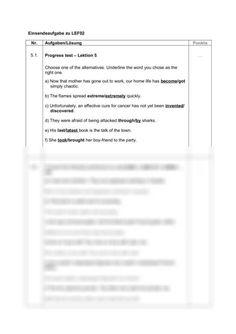 Einsendeaufgabe LEF02, Englisch für Fortgeschrittene Progress test - Lektion 5 -  Assignment English Language Forgot My Password, Has Gone, You Choose, The Cure, Words, Life, English, Horse