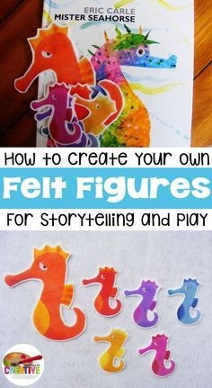 DIY Felt Story Figures {DIY} Tutorial on creating your own felt story figures for flannel boards, storytelling, and play. Tutorial includes a bonus seahorse printable and activity idea for Mr. Seahorse by Eric Carle.
