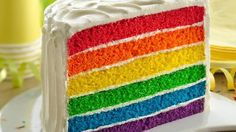 """Full-spectrum """"fabulous"""" is the order of the day when you serve this treat at a kid's birthday or half birthday celebration. The colorful cake is a snap to pull together with Betty Crocker™ SuperMoist® vanilla cake mix and gel food coloring."""