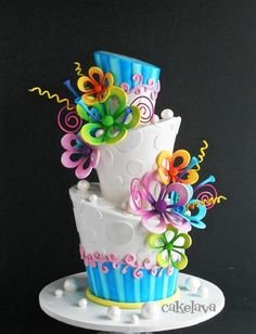 Another whimsical Topsy turvy cake by Cake Lava