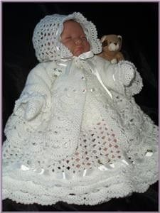 This is a Geneka Crafts designed crochet pattern, consisting of an exquisite matching jacket, dress, bonnet, bootees & mitts, ideal for a small