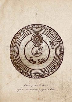 Jerónimo Cortés | Lunario nuevo, perpetuo y general y pronóstico de los tiempos universales (1594) | Drawing of the Ptolemaic theory of the universe.