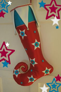 Handmade Christmas Stocking / Stars / Curly Toe / by FestiveJester, €30.00
