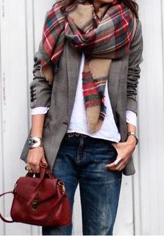 #fall #fashion / tartan + denim