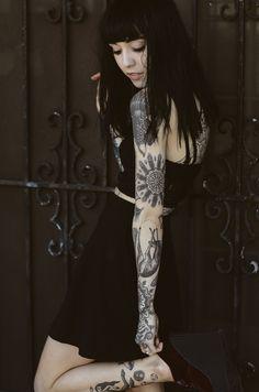 blackwork sleeve on hannah snowdon #arm #tattoos