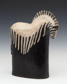 black and white - zebra - Tina Curry - ceramic - sculpture