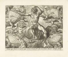 Adriaen Collaert | Lucht, Adriaen Collaert, Maerten de Vos, Gerard de Jode, 1580 - 1584 | Het element lucht, gepersonifieerd door een naakte man die in de wolken zit. Hij is omringd door vogels en vliegende insecten. In zijn hand houdt hij het symbool van lucht, de kameleon, vast. In elke hoek van de prent de vier winden, als hoofden die met bolle wangen blazen. De prent heeft een Latijns onderschrift. De prent is deel van een vierdelige serie over de vier elementen.