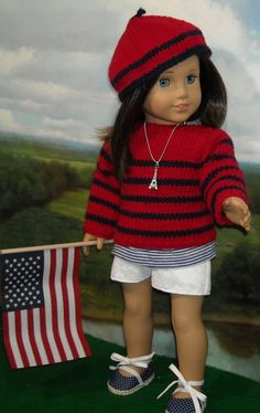 Red and Navy Bretton Sweater,  Lace Shorts, Beret, Tee, Shoes, and necklace by SugarloafDollClothes on Etsy