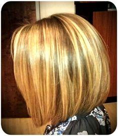 Straight hair /  brown and blonde / angled bob / balayage highlights / short hair / women's hair cut / lob / dimensional hair color