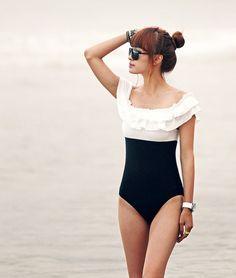 New Girl One Piece Swimsuit Ruffle Shoulder Bikini Swimwear Padded Bathing Suits | eBay