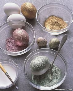 Martha Stuart glitter Easter eggs!!