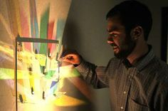 Volunteers craft 'shark tank' challenge for #Dayton #startups. Pictured: Patrick Bello's startup, Huelight, builds customizable light sculptures you can hang in your home.