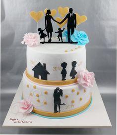 weiß rosa hellblau gold Aniversary Cakes, 50th Birthday, Birthday Cake, Wedding Anniversary Celebration, Romantic Room, Celebration Cakes, Cake Toppers, Fondant, Cake Recipes