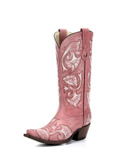 """CORRAL Boots Women's Pink Floral Full Stitch Boot - G1087  Product Details      13"""" leather shaft     Lightly cushioned insole     Leather outsole     Single stitched welt      Snip toe profile      2"""" cowgirl heel"""