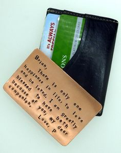 Set of 2 Hand Stamped Copper Wallet Insert Cards - 10 Dollar Discount -