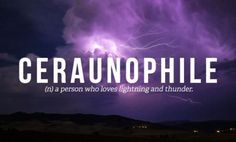 Ceraunophile- I LOVE Thunderstorms!! They always calm me down! :)