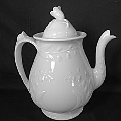 WHITE IRONSTONE TEAPOT, Lily of the Valley http://pages.canupantiques.com/2107/PictPage/3924155904.html