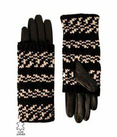Damskie rękawiczki skórzane czarny nadruk - Promod