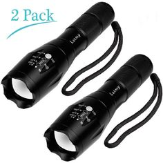 Letmy 2 pack Tactical Flashlight Military Flashlight Ultra Bright LED Flashlight Portable Outdoor Torch Flashlight with 5 Modes Powered by 1x 18650 or 3x AAA battery(Battery not included) * You can get more details by clicking on the image.