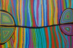 Aboriginal Indigenous - Judy Watson Napangardi - My Dreaming - acrylic on linen